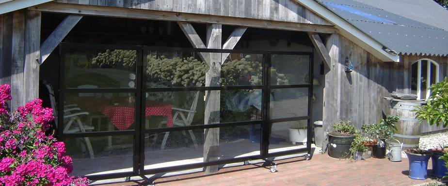 Verplaatsbaar glazen windscherm